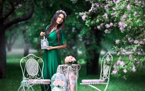 Picture trees, chairs, spring, dress, brunette, wreath