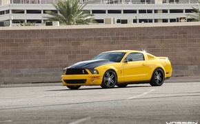 Picture mustang, wheels, ford, yellow, vossen