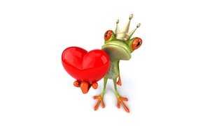 Picture heart, graphics, frog, crown, Free frog 3d