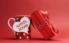 Picture holiday, gift, tape, note, bow, Valentine's day, red mug