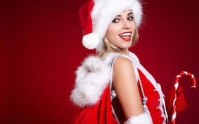 Picture red, fur, New Year, girl, bag, Christmas, hat