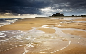 Picture sea, shore, Bamburgh Beach