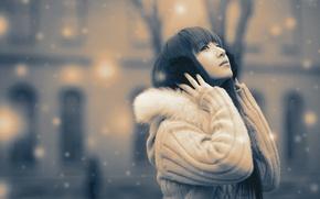 Picture winter, brunette, Asian, monochrome