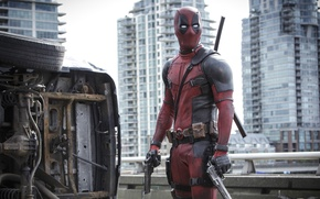 Picture City, Action, Ryan Reynolds, Red, Car, Assassin, Black, with, and, Wallpaper, Deadpool, Year, MARVEL, Weapons, …
