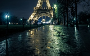 Picture night, lights, France, Paris, lights, puddles, Eiffel tower