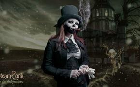 Picture night, woman, smoke, skeleton, cigar, makeup, Cosplay, damn place, steam punk