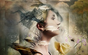 Picture girl, abstraction, color, form