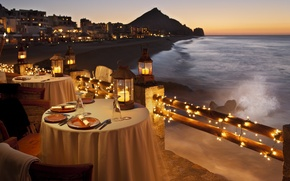 Picture sea, sunset, the ocean, restaurant, beautiful, novel, open