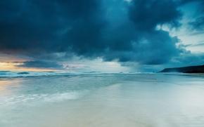 Picture sea, wave, clouds, shore
