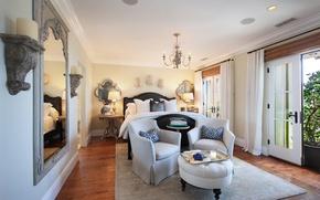 Picture design, bed, mirror, chairs, mansion, Design, bedroom, Interior, Bedroom