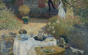 Wallpaper Claude Monet, picture, genre, table, After Lunch, yard