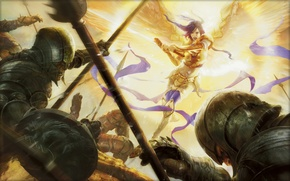 Picture light, attack, wings, angel, sword, armor, rage, goblins, Magic The Gathering, Alexia Briclot, Vengeance Acrobatics