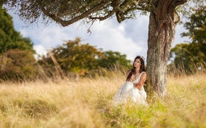 Picture girl, nature, tree, white, dress, sitting