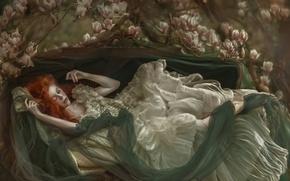 Picture girl, fantasy, art, Agnieszka Lorek, Ophidia, Dormant dreams