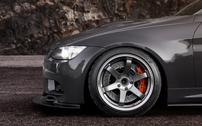 Picture BMW, BMW, disk, black, 335i, caliper, bus, E90, 3 Series