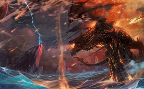 Picture storm, wow, world of warcraft, Deathwing, deathwing, shaman, cataclysm, thrall, shaman
