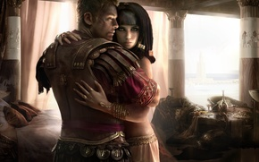 Picture art, hugs, male, Egypt, Total War: Rome 2 girl