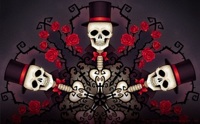 Picture Skull, Pattern, Roses, Abstraction