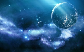 Picture space, nebula, lights, planet, stars, Blue nebula, unknown planet