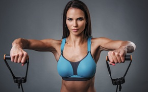 Wallpaper model, look, pose, workout, fitness, shoulders, elastic bands