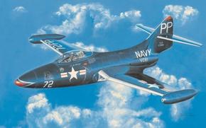 Picture war, art, painting, aviation, jet, Grumman F9F Panther