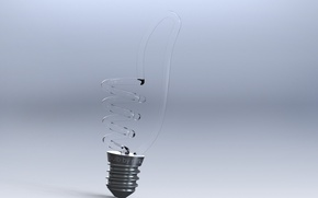 Picture glass, light bulb, creative, grey, background, gesture