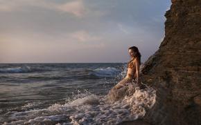 Picture sea, rock, the ocean, mermaid