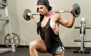 Picture woman, power, muscles, tattoos, fitness, bodybuilder, weight lifting, hard work, transpiration