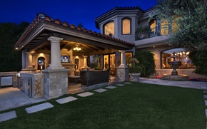 Picture night, design, lights, house, lawn, mansion