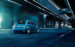 Picture Blue, 500, Matte, Fiat, Abarth, Rear, Brushed, F132