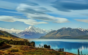 Picture The sky, Clouds, Mountains, Lake, Landscape, island, New, pukaki south, Zealand