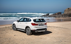 Picture sand, sea, beach, shore, BMW, BMW, xDrive, SUV, 2015, F48, xLine