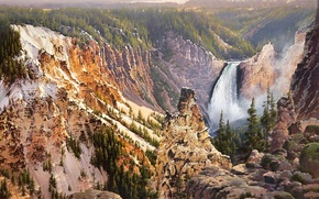 Wallpaper mountain, Bruce Cheever, nature, waterfall, painting, Power And Grace Lower Falls Of The Yellowstone, yellow ...