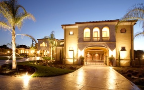 Picture photo, Design, Night, The city, House, Palm trees, Lights, Mansion