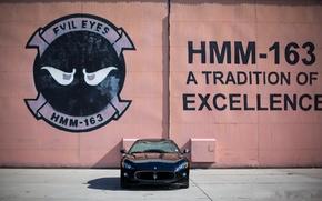 Picture wall, black, the inscription, Maserati, shadow, black, Maserati, the front, MC Road, Granturismo, GranTurismo, bitonic …