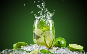 Picture ice, squirt, green, background, glass, cocktail, lime, citrus, fruit, Mojito