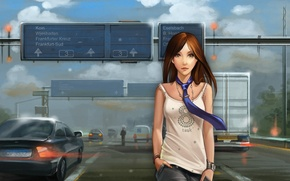 Picture tie, girl, art, road, machine, Mike