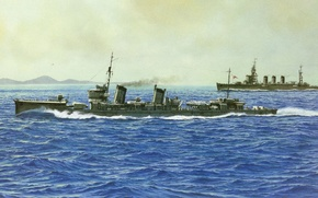 Picture ship, art, Navy, military, Japanese, destroyer, WW2, IJN, Fumizuki