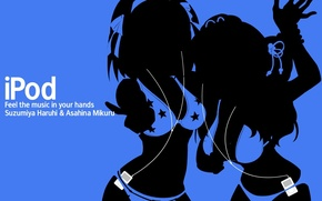Wallpaper two, blue background, girls, ipod