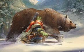 Picture winter, bear, dwarf, musket