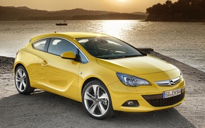 Wallpaper lake, Astra, GTC, Opel, landscape, sunset