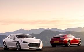 Picture machine, Aston Martin, two, red, white, Fast S
