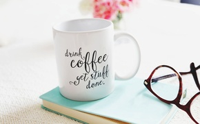 Picture flowers, flowers, cup, glasses, bouquet, Cup, coffee, book, coffee, bouquet, glasses, book