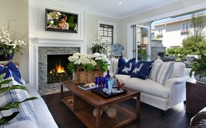 Picture flowers, interior, pillow, TV, fireplace, booze, room, table, sofas, plasma, the home comfort.