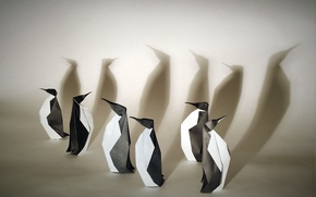 Wallpaper paper, origami, penguins