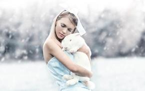 Picture girl, rabbit, Alessandro Di Cicco, Alice & Bunny