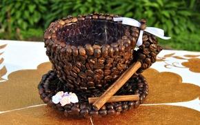 Picture mug, coffee beans, decor