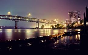Picture night, bridge, lights, river, Oregon, Portland