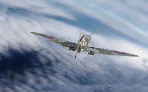 Picture graphics, art, Spitfire, Supermarine, the English fighter