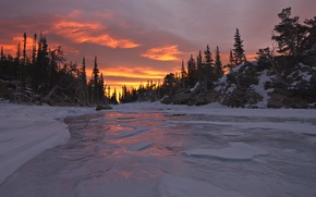 Picture winter, forest, sunset, nature, river, ice